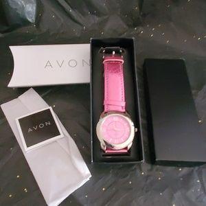 AVON NIB watch pink metallic